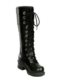 """You'll be ready to take on the world with these foxy 12-hole boots with overlay stitching. 15"""" upper with 1 3/4"""" heel."""