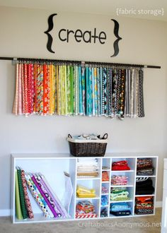 DIY Craft Room Ideas and Craft Room Organization Projects - Old Book Shelf Fabric Organizer - Cool Ideas for Do It Yourself Craft Storage - fabric, paper, pens, creative tools, crafts supplies and sewing notions Sewing Room Organization, Craft Room Storage, Fabric Storage, Organization Ideas, Fabric Organizer, Vinyl Storage, Storage Ideas, Garage Storage, Easy Storage