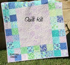 Baby Quilt Kit, Horizon Kate Spain Moda Fabrics, Purple Green Aqua Blue Navy,