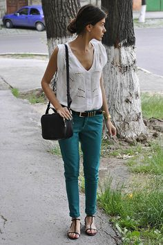"""Emerald Touch"" by Mariana S., student, blogger from Chisinau, Moldova. Mango Blouse, Chinos, Sandals, Swarovski Earrings"