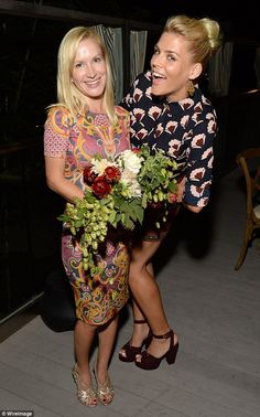 Patterns: Busy strikes a pose with Real Hotwives star Angela Kinsey...
