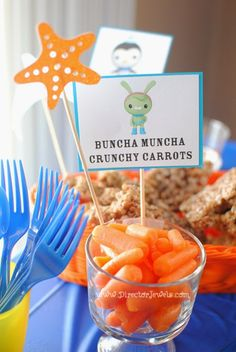 Octonauts Birthday Party Food Ideas | Tweak's Buncha Muncha Crunchy Carrots | Under the Sea Party at directorjewels.com