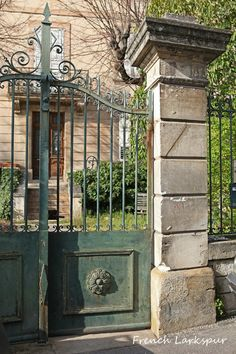 Garden Entrance to La Madone, Apt, France - via French Larkspur Wrought Iron Garden Gates, Garden Gates And Fencing, Metal Gates, Fences, Driveway Entrance, Garden Entrance, Garden Doors, Front Gates, Entrance Gates