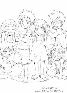 Little Jellal, Erza, Milliana, Simon, Wally, and Sho