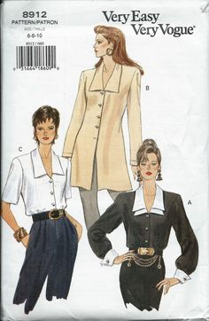 Vogue 8912 Misses Blouse and Tunic Pattern by DawnsDesignBoutique