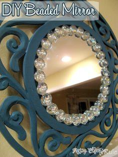 Simple, Inexpensive & Easy DIY Beaded Mirrors #mirrors #diy- artsychicksrule.com