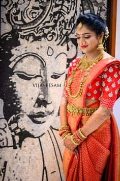 Indian Bridal Sarees, Indian Bridal Fashion, Wedding Sarees, Saree Hairstyles, Lehnga Dress, Blouse Models, Bridal Blouse Designs, South Indian Bride, Work Blouse