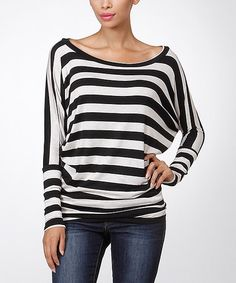 Loving this Black & Oatmeal Stripe Dolman Top on #zulily! #zulilyfinds
