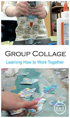 Teaching toddlers and preschoolers how to work together by creating collage art - Teaching 2 and 3 Year Olds