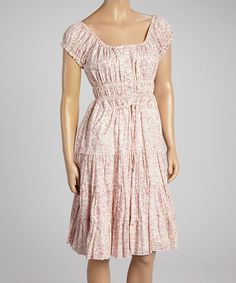 Look at this Ivory & Pink Floral Smocked Cap-Sleeve Dress on #zulily today!