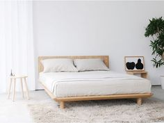 080825-0 Muji Bed, Japanese Bedroom, Japanese Bed Frame, Japanese Interior, Low Wooden Bed Frame, Low Bed Frame, Simple Bed Frame, Minimalist Bedroom, Home Bedroom