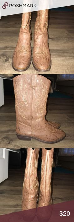 Cowboy boots! Brown cowboy boots, only worn once for a wedding! In great condition! Shoes