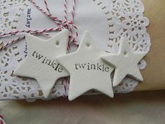 Twinkle, Twinkle Little Star- clay tags- set of 3 Christmas Feeling, All Things Christmas, Christmas Crafts, Christmas Ornaments, Christmas Decorations Australian, Xmas Decorations, Crafty Craft, Crafty Projects, Pottery Gifts