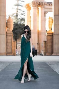 San Francisco :: Emerald maxi dress & Nude sandals : Wendy's Lookbook