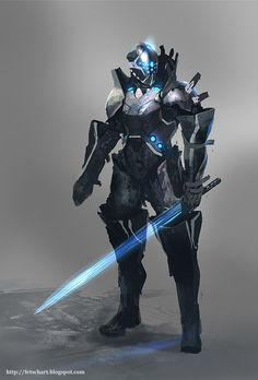 Robotic mech suit concept design ideas, futuristic cyber warrior fighter cyborg android in a fantasy robot suit armor