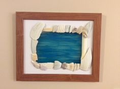 Sea Shell Matted Frame with Blue Glass Painting Of Water. Gorgeous!