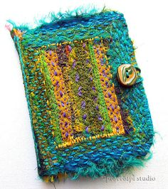 peaceofpi studio, Fabric Book Cover, Embroidery on Silk Remnants