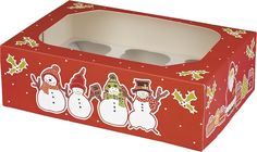 Pack of 2 Snowman Christmas Cupcake Boxes.  Holds 6 cupcakes per box.  Size: 240 x 165 x 75mm