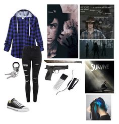 """""""Surviving the walking dead with Carl"""" by mrs-irwin-grier on Polyvore featuring Topshop, Converse and Smith & Wesson"""
