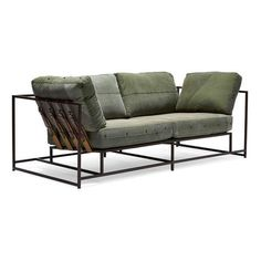 Vintage Military Canvas and Marbled Rust Two-Seat Sofa (40.815 DKK) ❤ liked on Polyvore featuring home, furniture, sofas, canvas couch, canvas sofa and canvas furniture