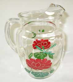 Vintage Anchor Hocking - Clear Glass Pitcher Fred Flower Dragonfly
