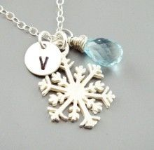 Snowflake Birthstone Initial Monogram Sterling Silver Necklace