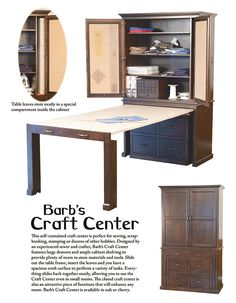 How great is this 'craft center'? In a small apartment, it's the dining room equivalent of a Murphy Bed - store your dishes,etc. in the 'cabinet,' and pull out the table when it's time to eat!