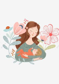 Art And Illustration, Character Illustration, Illustrations Posters, Pregnancy Art, Mother Art, Mother And Child, Holding Baby, Baby Art, Belle Photo
