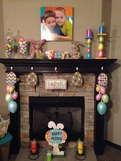 Easter mantle. I so want those candle sticks!