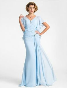 Pretty Trumpet/Mermaid V-neck Floor-length Chiffon Mother of the Bride Dress