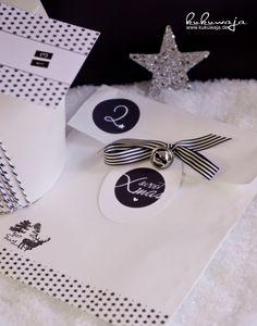 Packaging und Adventskalender in Black & White with Touch of Silver - www.kukuwaja.de