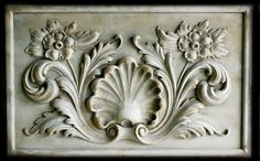 Shell and Flowers Renaissance sculpture decorative relief made of cast stone and colored in antique stone finish. For sale by Ancient Sculpture Gallery. Sculpture Museum, Sculpture Art, Stone Sculptures, Ornament Drawing, Roman Sculpture, Stone Panels, Renaissance, Stuck, Carving Designs