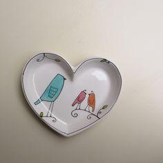 heart shaped bird tray blue bird dish for by catherinereece, $18.00