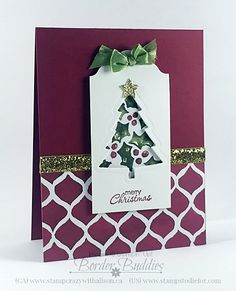 Perfect Pines Framelit Dies & Season of Cheer Pattern Paper and Gold Glimmer Ribbon all products Stampin' Up! www.stampstodiefor.com #stampinup