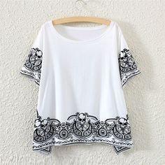 White Short Sleeve Skeleton Print Fringed T-Shirt