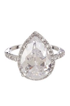 Large Trimmed Pear CZ Ring