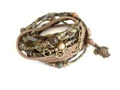 LEATHER BRACELET For Women Rustic BOHO Bracelet Beaded Wrap Bracelet Braided Leather Wrap Boho Leath