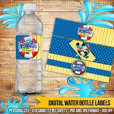 Mickey Mouse Pool Party Digital Water Bottle Labels by CocoaParty