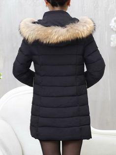 Winter Women Casual Brief Fur Collar Hooded Pure Color Zipper Thicken Coat