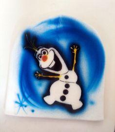 Airbrush Designs Disney | frozen beanie olaf airbrush design #Handmade #Beanie