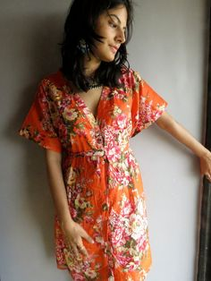 Orange Floral front button closure kaftan robe perfect as getting ready robes, beach coverup, dressing gown, loungwear, gift for her