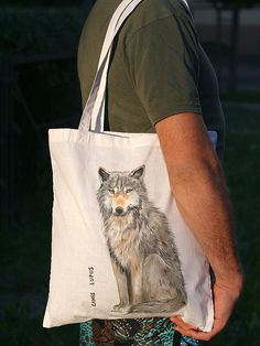 Cotton bag with a painted wolf by SkadiaArt on Etsy