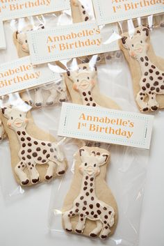 sophie the giraffe birthday favors but could easily b changed to baby shower