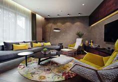 Szürke sárga nappali - nappali ötlet, modern stílusban