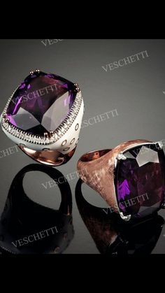 VESCHETTI  -The Collection-  Amethyst  Rings with Amethysts, Enamel and Diamonds.