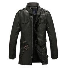 Men Winter Windproof Waterproof Thick Warm Velvet Plus PU Leather Jackets Outdoor Long Parka Coats Size S-2XL, Euro 68,=