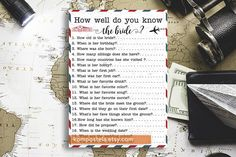 Travel themed bridal shower game How Well Do You Know the Bride printable Travel theme bridal shower printable  Travel theme couples shower
