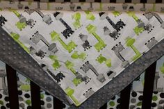 Lime Gray Giraffe and Minky Blanket by DesignsbyChristyS on Etsy