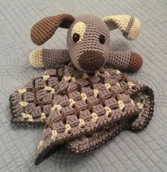 Great job of chopstixmastuh on Ravelry with my Scrappy the Happy Puppy lovey pattern. Crochet Security Blanket, Crochet Lovey, Crochet Baby Toys, Lovey Blanket, Crochet Blanket Patterns, Crochet Gifts, Baby Knitting Patterns, Baby Blanket Crochet, Crochet For Kids