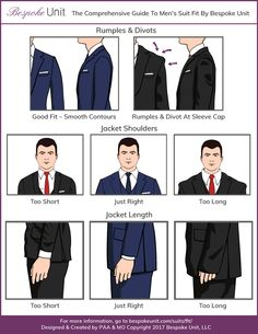 correct jacket fit infographic for shoulders The Bespoke Unit team explains in detail the different parts of a tailored jacket and how each part is supposed to fit. Best guide to men's suits. Mens Suit Fit, Mens Suits, Fit Men, Mens Style Guide, Men Style Tips, Suit Fit Guide, Men's Coats And Jackets, Mens Fashion Suits, Wedding Suits